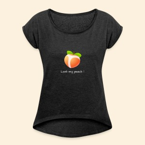 Look my peach in white - Women's T-shirt with rolled up sleeves