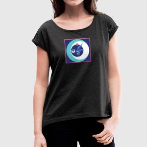 Bird - colorful with frame - Women's T-shirt with rolled up sleeves