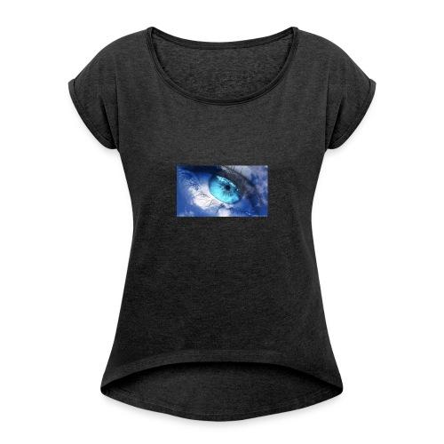 Der blau auge lets s player - Frauen T-Shirt mit gerollten Ärmeln