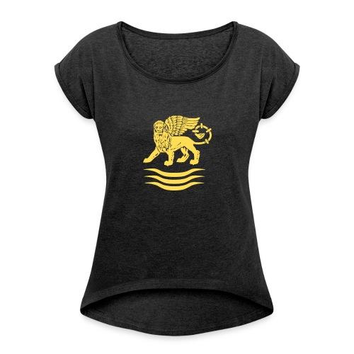 Trident Lion - Vrouwen T-shirt met opgerolde mouwen