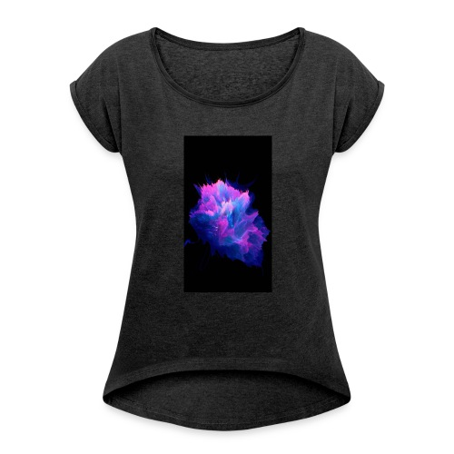 Purple and blue paint splat - Women's T-Shirt with rolled up sleeves