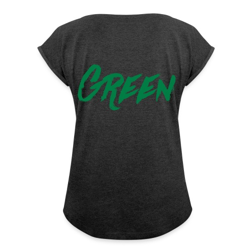 green-scritta-verde - Maglietta da donna con risvolti