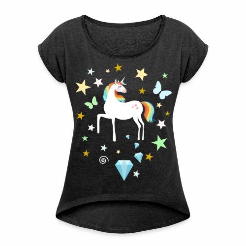 Einhorn Diamant Stern Techno Rave Electronic Music - Frauen T-Shirt mit gerollten Ärmeln