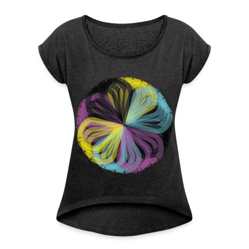 colores - Camiseta con manga enrollada mujer