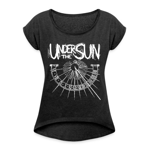 Sundial White on Black png - Women's T-Shirt with rolled up sleeves