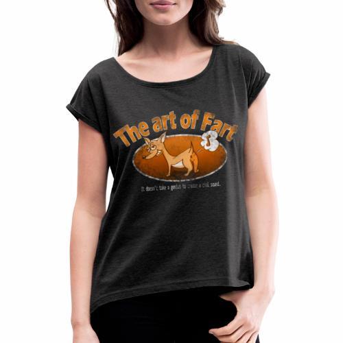 Farting Dog Retro Orange - Vrouwen T-shirt met opgerolde mouwen