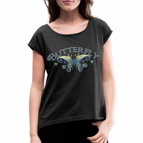 Butterfly Logo 1 - Vrouwen T-shirt met opgerolde mouwen