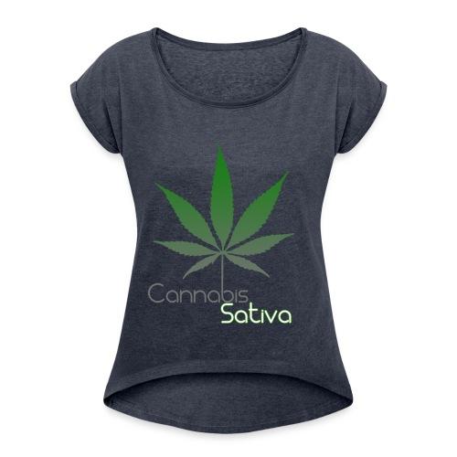 Cannabis Sativa CBD - Frauen T-Shirt mit gerollten Ärmeln