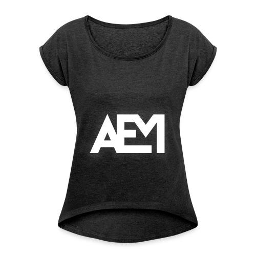 aem logo png - Frauen T-Shirt mit gerollten Ärmeln