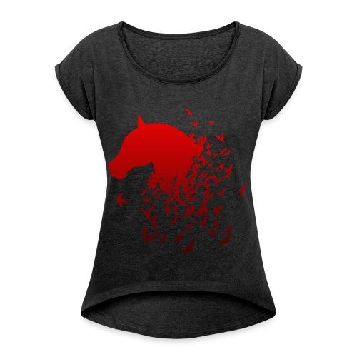 Pferd in rot mit Vögeln Geschenk - Frauen T-Shirt mit gerollten Ärmeln