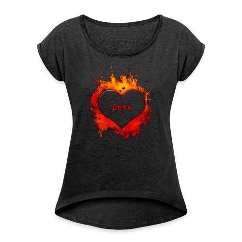 wzorek_09 - Koszulka damska z lekko podwiniętymi rękawami