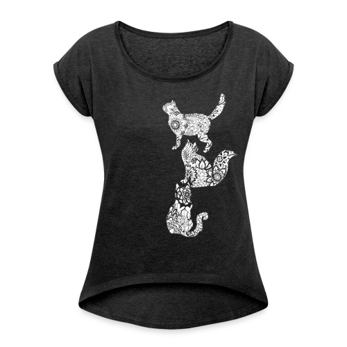white floral cats - Women's T-Shirt with rolled up sleeves
