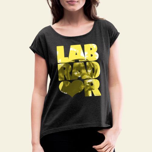 NASSU Labrador Brown I - Naisten T-paita, jossa rullatut hihat