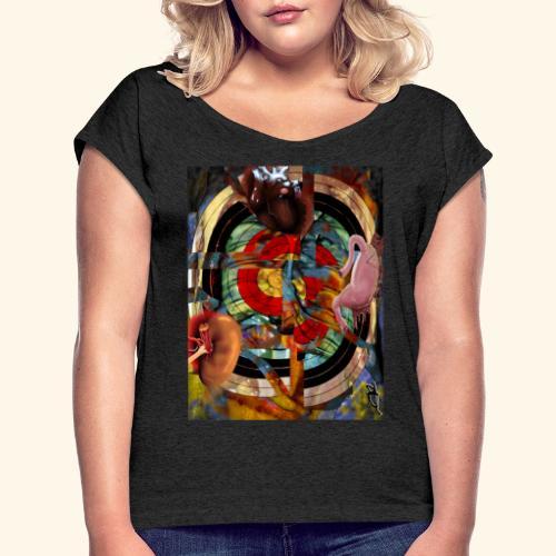 camisa tiro al blanco - Camiseta con manga enrollada mujer