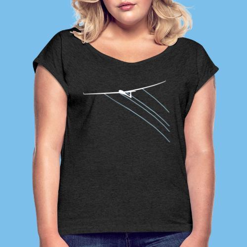 Wasser gleiten Segelflieger Segelflugzeug fliegen - Frauen T-Shirt mit gerollten Ärmeln