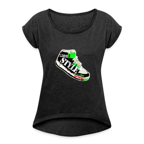 LS vert png - T-shirt à manches retroussées Femme