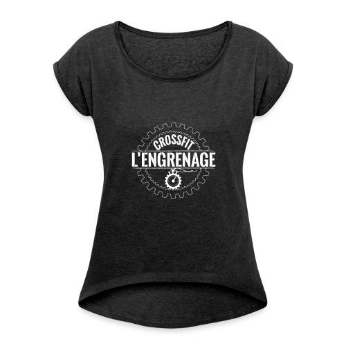 LOGO_blanc - T-shirt à manches retroussées Femme