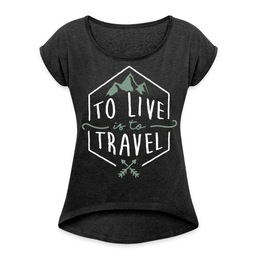 Travel_ttl-white - Vrouwen T-shirt met opgerolde mouwen