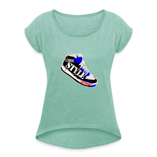 LS BLEU png - T-shirt à manches retroussées Femme