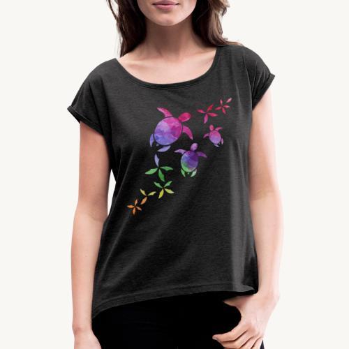 Schildkröten im Regenbogen - Frauen T-Shirt mit gerollten Ärmeln