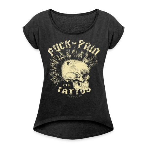 iro skull1 png - Frauen T-Shirt mit gerollten Ärmeln