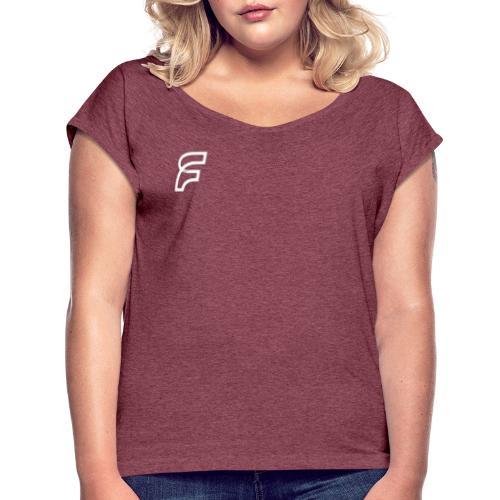 FaMe Icon Weiß + Schrift - Frauen T-Shirt mit gerollten Ärmeln