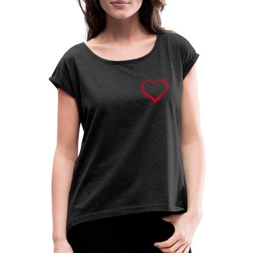Herz Liebe Geschenk Freunde - Frauen T-Shirt mit gerollten Ärmeln