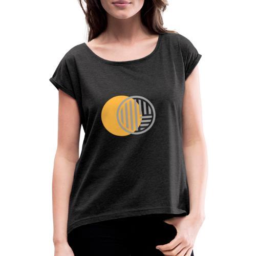 Jaune et Gris - T-shirt à manches retroussées Femme