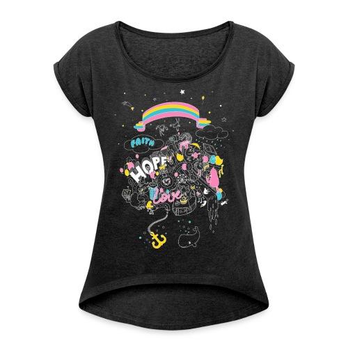 FHL Wimmelshirt VAR2 neg - Frauen T-Shirt mit gerollten Ärmeln