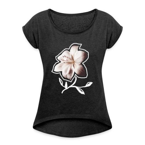 Shirt LILIE weiß - Frauen T-Shirt mit gerollten Ärmeln