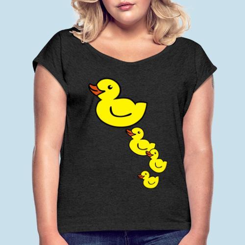 Ente - Frauen T-Shirt mit gerollten Ärmeln