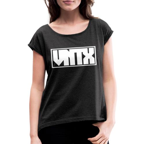 VNTX Logo Weiß - Frauen T-Shirt mit gerollten Ärmeln