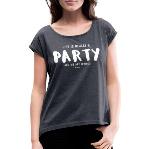 Party white - Women's T-Shirt with rolled up sleeves