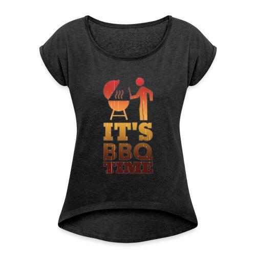 It's BBQ Time - Vrouwen T-shirt met opgerolde mouwen