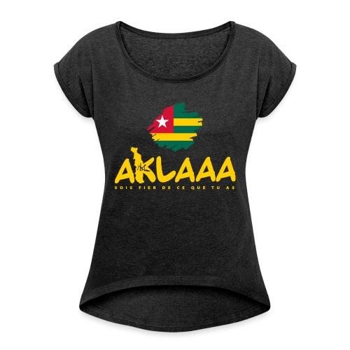 Aklaaa - Togo - Jaune - T-shirt à manches retroussées Femme