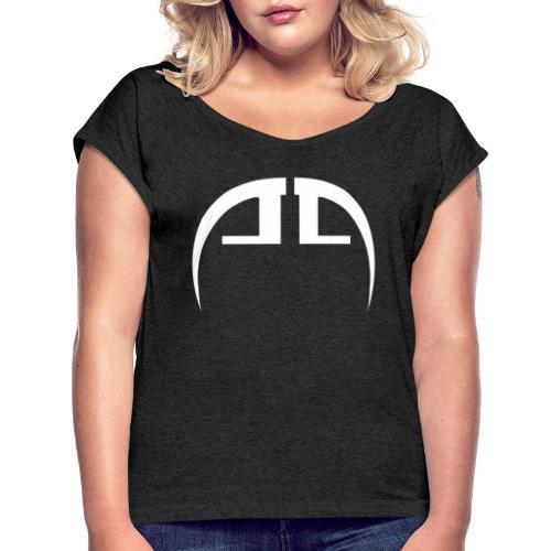 halb weiss - Frauen T-Shirt mit gerollten Ärmeln