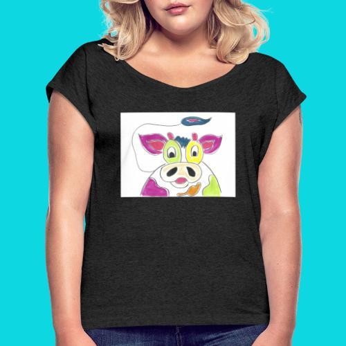 Vrolijke koeien - Vrouwen T-shirt met opgerolde mouwen