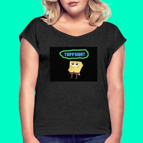 Topsight - T-shirt med upprullade ärmar dam