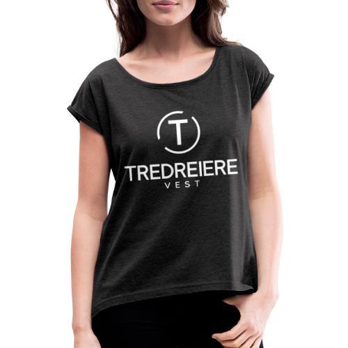 Hvit logo - T-skjorte med rulleermer for kvinner