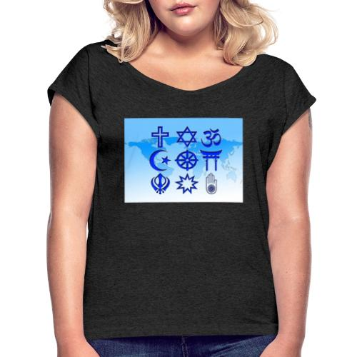 Paix & Amour - T-shirt à manches retroussées Femme