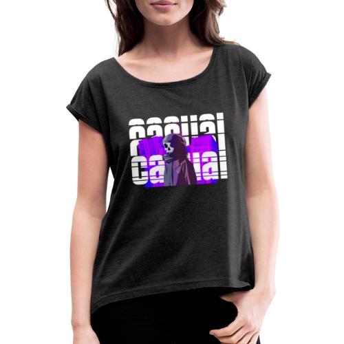 CASUAL BRUTALISM - T-skjorte med rulleermer for kvinner