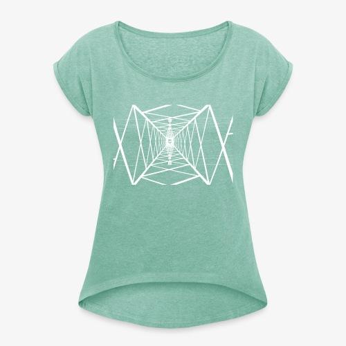 Quermast V2 Weiß - Frauen T-Shirt mit gerollten Ärmeln