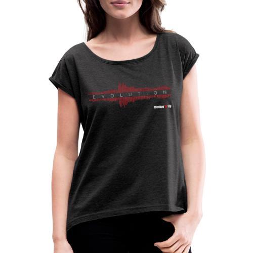 Monkey Fly - Evolution - Dark - Frauen T-Shirt mit gerollten Ärmeln