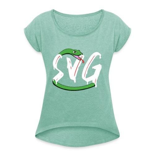 Savage Snake White - Vrouwen T-shirt met opgerolde mouwen