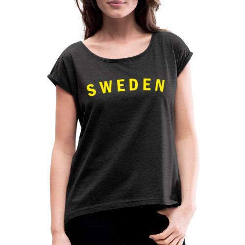 sweden - T-shirt med upprullade ärmar dam