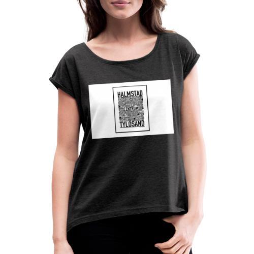 Only Halmstad - T-shirt med upprullade ärmar dam