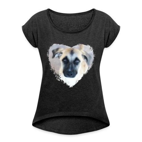 Ciqala - Ein Herz für Streuner - Frauen T-Shirt mit gerollten Ärmeln