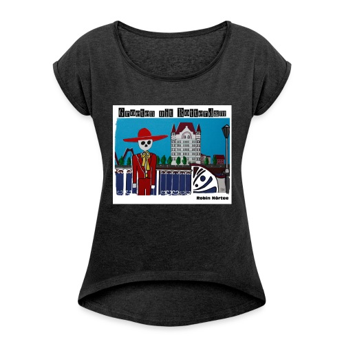 witte_huis - Vrouwen T-shirt met opgerolde mouwen