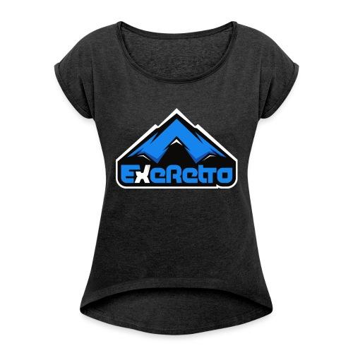 ExeRetroblue - Naisten T-paita, jossa rullatut hihat