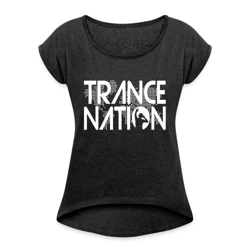 Trance Nation (White) - T-shirt med upprullade ärmar dam